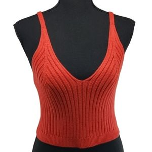 Dee Elly. Red V Knit Tank Top